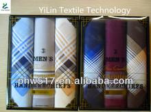 Three mounted gift box--5 cotton Cheap Satin Men's handkerchiefs custom export