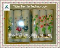 three mounted gift box cotton Lady handkerchiefs custom export
