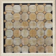 Lovehome latest design Honey Onyx Stone travertine mosaic bathroom floor tiles from China Factory