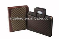 pu custom zipper portfolio folder with handle,custom zipper leather portfolio organizer,Fashion custom zipper portfolio for hot