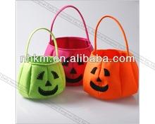 Halloween Pumpkin Felt Wool Bag with Handle