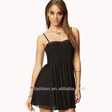 2014 Fit & Flare Faux Leather Dress Sexy Halter Black Design Women Dresses
