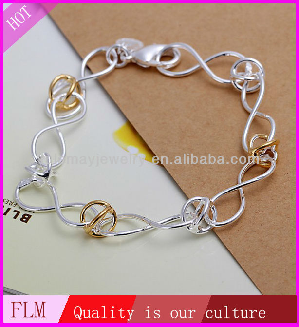 2014 latest design of 8 link with golden ring silver handcuff bracelet for boys and girls FH150