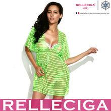 RELLECIGA 2014 Sexy Beachwear - Neon Green Fashion Crochet Tunic Beach Dress with Drawstring at Waistline