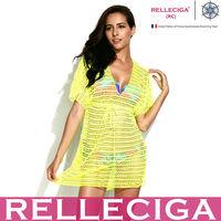 RELLECIGA 2014 Sexy Beachwear - Neon Yellow Crochet Tunic Tropical Women Beach Dress with Drawstring at Waistline