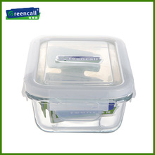 1200ml rectangular pyrex glass fruit storage boxes with plastic lids