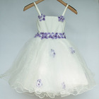 Child Clothes Girls Party Dresses Summer Sleeveless Princess white flower dress Ball Gowns 4pcs/lot 3-6Y