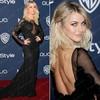 Julianne Hough Black Lace High Neck Low Back Sheer Transparent Custom Made Long Sleeve Celebrity Red Carpet Dress