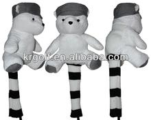 Golf Driver Animal Bear 1# 440cc 460cc Head cover White, wholesale animal golf club head cover