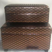 Tan Leather Bedroom Furniture Storage Net Ottoman