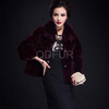 QD29676 equestrian silver fox fur with mink fur leather jacket