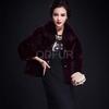 QD29676 equestrian silver fox fur with mink fur leather jacket