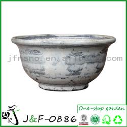 Handmade bowl blue and white ceramic pot planter