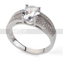 Platinato taglio princess quattro artigli 1 carato 7*9mm matrimonio zircone anelli