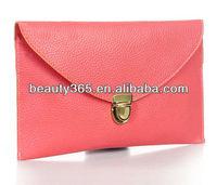 Ladies wholesale pu leather clutch bag coin purse colorful envelope bag
