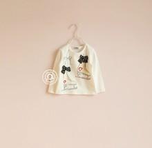 *New Arrival*2014 fashion children t shirts black bow love skates print long-sleeve T-shirt basic shirt#180142