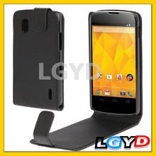 Pure Color Vertical Flip Soft Leather Case for LG Nexus 4