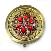 Easy to carry antique round rhinestone comestic mirror