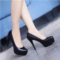 Para mujer elegantes de tacón alto balck zapatos de las mujeres 2014 alta plaform tacones altos bombea los zapatos para mujer de moda diseños modelo de los altos talones