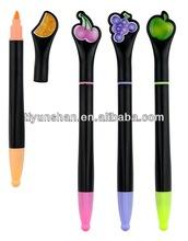 Cute customer designed fruits clip large barrel pen