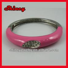 Fashion beautiful rose ceramics with crystal paved alloy bangle