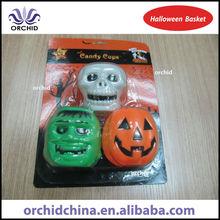 Plastic Halloween Gift Buckets with Skull Bucket, Ghost Bucket and Pumpkin Bucket