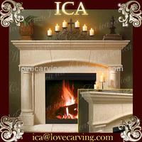 Indoor beautiful yellow sandstone fireplace