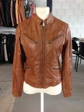 Ladies leather fashion jacket , orignal sheep wax leather jacket for women