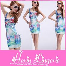 Wholesale lovely cat fashion spandex dresses for women
