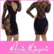 Free Shipping see through black plus size bandage dresses wholesale