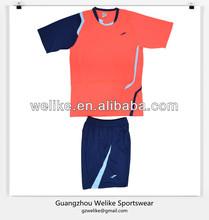 Latest jersey football model fluorescent red training shirt and shorts soccer team jerseys cheap