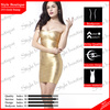 Army quality strapless gold stamp bandage dress in France design 2014