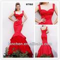 9782 color rojo de satén de novia vestidos 2014