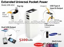 High capacity smartphone backup battery 5200mah power bank flashlight with indicator for samsung htc