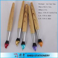 brush pen shape wooden pen promotional wooden ball pen