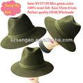verde feltro de lã homens safari chapéu