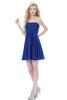 HC2197 Cheap simple royal blue strapless sleeveless gathered chiffon above knee length short cute short homecoming dresses