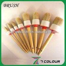 round wood bristle brush,wood handle round paint brush,plastic hand brush round
