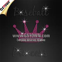 Baseball princess and pink crown baseball bling iron on