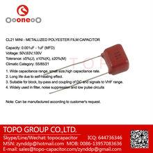 cl21 mini polyester film capacitors 50V 63V 100V