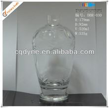 500ml Cystal Clear Glass Fancy Liquor Glass Wine Bottles Making Company