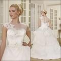 Romántica joya cuello de la manga casquillo Appliques longitud del piso del vestido de bola de la boda vestidos Pictures