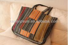 Cotton Stripe Color Matching Shopping Bag