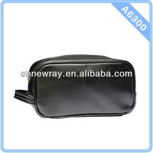 Black Leather Men Toilet Bag
