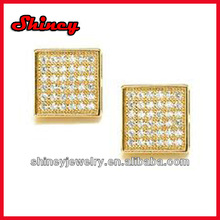 micro paved white cz gold plating big square earring for men