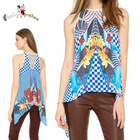asymmetrical sleeveless floral printed images of ladies casual tops