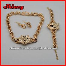 gold tone Lion Pendant Necklace set, inspired lion head medallion pendant necklace set, lion face pendant necklace set jewelry