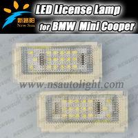 Top quality Error Free car led license light for BMW Mini cooper R50, R52, R53 18 SMD LED tail license light,3528 led rear light