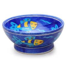 Blue Base and Turquoise,Yellow Fish Bowl - 6 inches