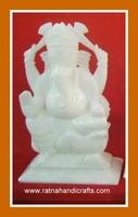 Ganesh Idol in White Marble